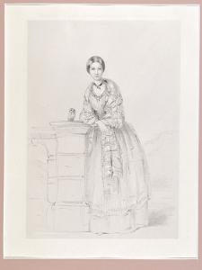 Florence Nightingale with Athena the Owl, Pub. P. and D. Colnaghi, 1855 by Parthenope Nightingale