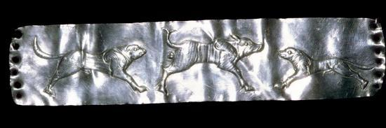 Parthian silver plaque of two dogs and a boar.-Unknown-Giclee Print