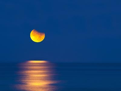 Partial Eclipse of the Moon, Setting over the Gulf of Mexico on the Morning of June 26, 2010-David Nunuk-Photographic Print