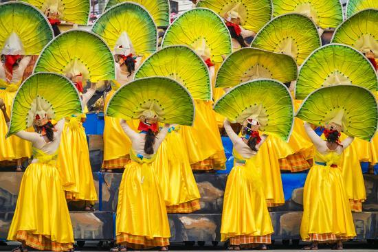 Participants perfrom at Dinagyang Festival, Iloilo City, Western Visayas, Philippines-Jason Langley-Photographic Print