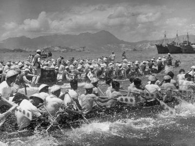 Participants Racing in the Dragon Boat Festival Contest--Photographic Print