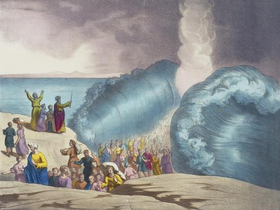 Parting of Red Sea of Old Testament, End of 19th Century by Bequet, Delagrave Edition, Paris--Giclee Print