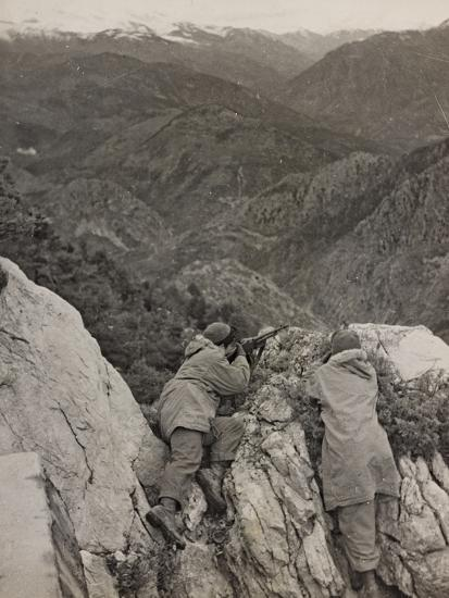 Partisans Posted on the Spur of a Rock During the Second World War-Luigi Leoni-Photographic Print