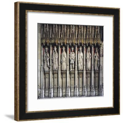 Partition Wall with Statues Kings of England, from William I to Henry VI--Framed Giclee Print