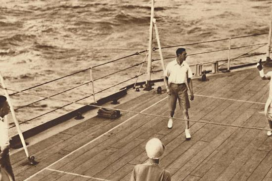 'Partners - A game of deck tennis in the Renown', 1927, (1937)-Unknown-Photographic Print