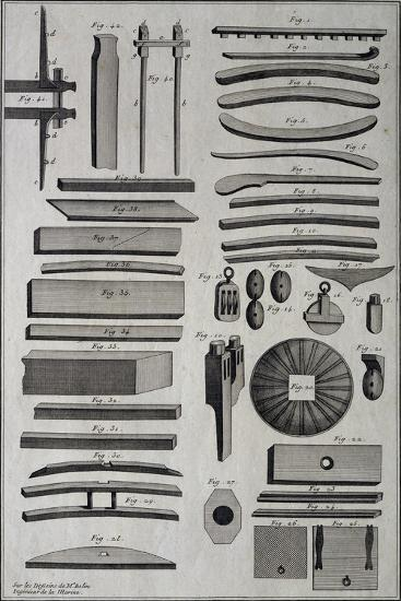 Parts of Ship under Construction, by Belin, 18th Century--Giclee Print