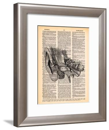Parts Of The Ear- Book Dictionary Art-Framed Art Print