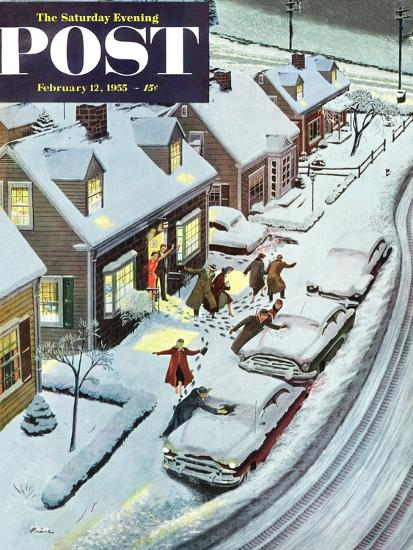 """Party After Snowfall"" Saturday Evening Post Cover, February 12, 1955-Ben Kimberly Prins-Giclee Print"