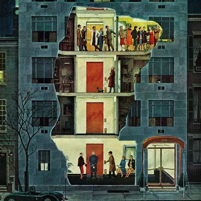 """Party Holding Up the Elevator,"" February 25, 1961-Ben Kimberly Prins-Giclee Print"