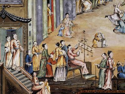 Party in a Square in a Chinese City, Fresco, Chinese Hall, Royal Palace of Portici--Giclee Print