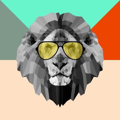 Party Lion in Glasses-Lisa Kroll-Art Print