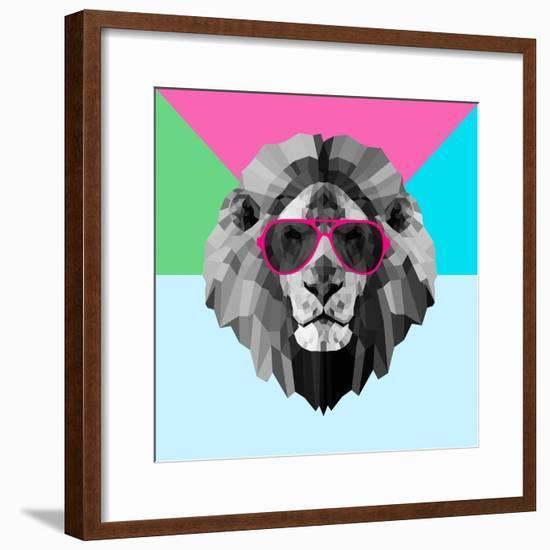 Party Lion in Red Glasses-Lisa Kroll-Framed Premium Giclee Print