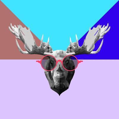 Party Moose in Glasses-Lisa Kroll-Art Print