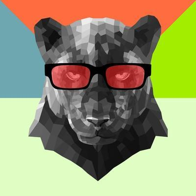 Party Panther in Red Glasses-Lisa Kroll-Art Print