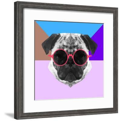 Party Pug in Pink Glasses-Lisa Kroll-Framed Premium Giclee Print