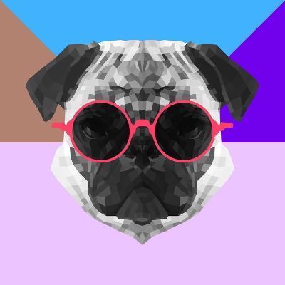 Party Pug in Pink Glasses-Lisa Kroll-Art Print