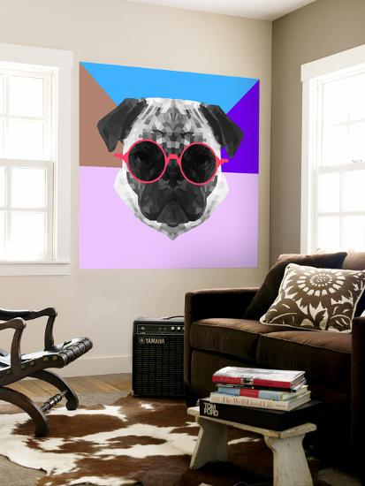 Party Pug in Pink Glasses-Lisa Kroll-Wall Mural