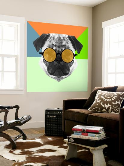 Party Pug in Yellow Glasses-Lisa Kroll-Wall Mural
