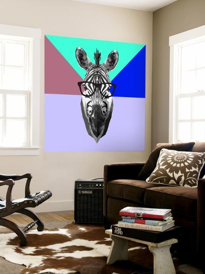 Party Zebra in Glasses-Lisa Kroll-Wall Mural