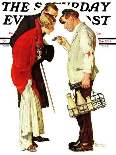 """""""Partygoers"""" Saturday Evening Post Cover, March 9,1935-Norman Rockwell-Giclee Print"""
