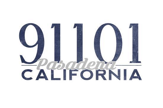 Pasadena, California - 91101 Zip Code (Blue)-Lantern Press-Art Print