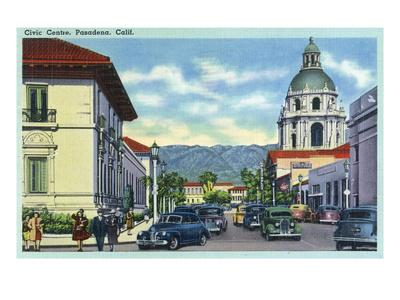 Pasadena, California - Civic Centre Scene-Lantern Press-Art Print
