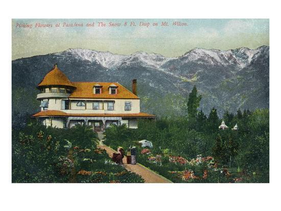 Pasadena, California - Picking Flowers Near Mount Wilson-Lantern Press-Art Print