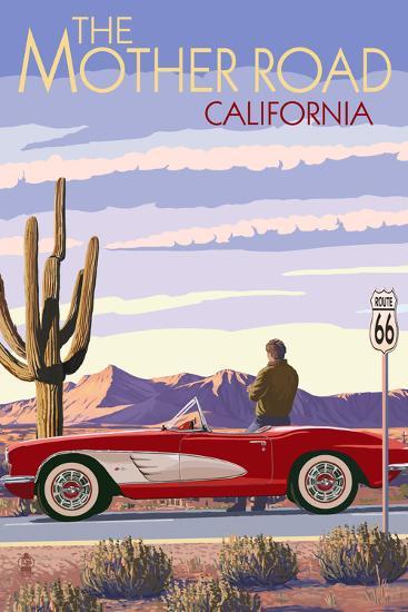 Pasadena, California - Route 66 - Corvette-Lantern Press-Art Print