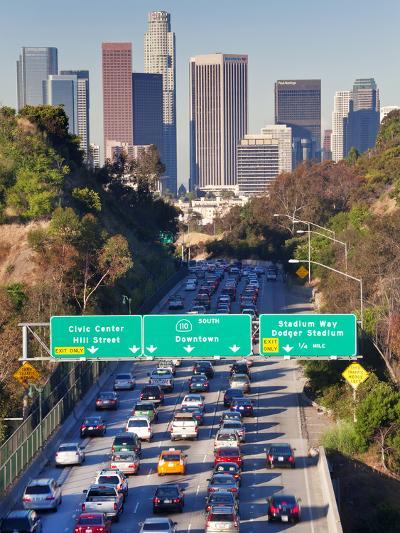 Pasadena Freeway (CA Highway 110) Leading to Downtown Los Angeles, California, USA-Gavin Hellier-Photographic Print