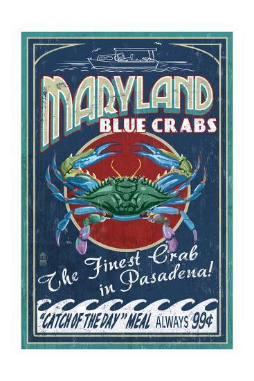 Pasadena, Maryland - Blue Crabs Vintage Sign-Lantern Press-Art Print