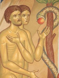 Adam and Eve Fresco at Monastery of Saint-Antoine-le-Grand by Pascal Deloche