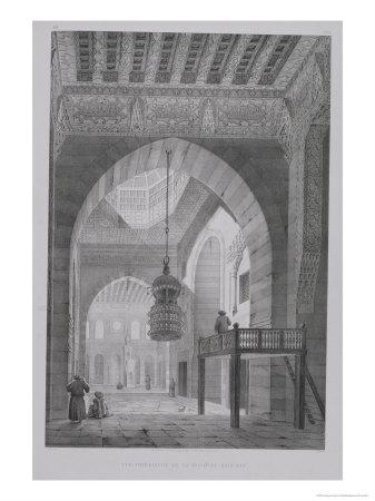 """Interior of the Mosque of Kaid-Bey, Plate 55 from """"Monuments and Buildings of Cairo"""""""