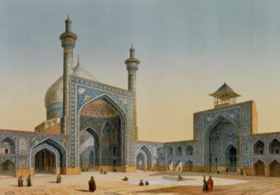 "View of the Courtyard of the Mesdjid-I-Shah, Isfahan, from ""Modern Monuments of Persia"" by Pascal Xavier Coste"