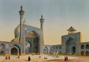 """View of the Courtyard of the Mesdjid-I-Shah, Isfahan, from """"Modern Monuments of Persia"""" by Pascal Xavier Coste"""