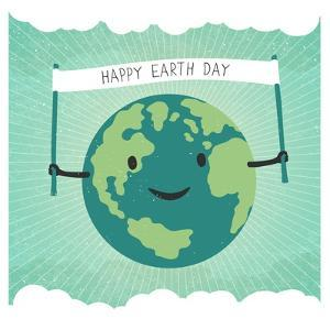 Cartoon Earth Illustration. Planet Smile and Hold Banner with Happy Earth Day Words. on Sunbeam Ray by pashabo