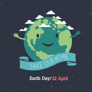Earth Day, 22 April. save Our Home . Cartoon Earth Illustration. Ecology Concept. by pashabo