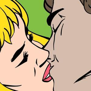 Kiss. Closeup. Illustration in Pop-Art Style, Raster Version. by pashabo