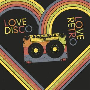 Love Disco, Love Retro. Vintage Poster Design Template. Raster Version, Vector File Available in Po by pashabo