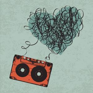 Vintage Audio Cassette Illustration with Heart Shaped Messy Tape. Vector, Eps10 by pashabo