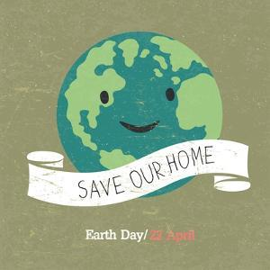 Vintage Earth Day Poster. Cartoon Earth Illustration. Text on White Ribbon. on Grunge Texture. Grun by pashabo