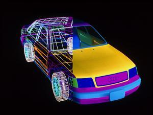 CAD Wire Frame-volume Drawing of Audi 100 Car by PASIEKA