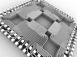 Microprocessor Chip, Computer Artwork by PASIEKA