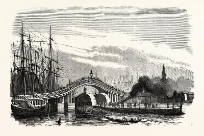 Passage of the Steamer Le Cygne under the Galata Bridge in Constantinople (Istanbul), 1855.--Giclee Print