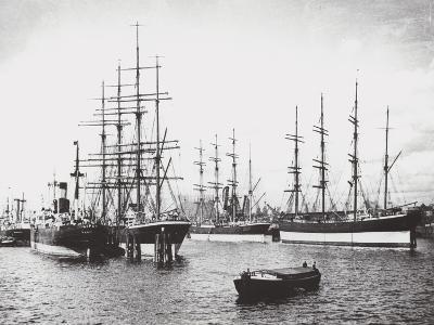 Passat, Priwall and Parma at Hamburg--Photographic Print