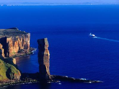 Passenger Ferry Passing Seastack Formation Known as Old Man of Hoy, Wester Ross, Scotland-Gareth McCormack-Photographic Print