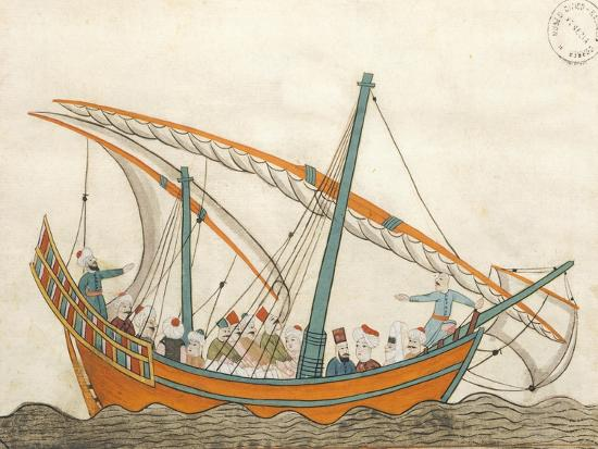 Passenger Ship, Miniature from Turkish Memories, Arabic Manuscript, Cicogna Codex, Turkey--Giclee Print