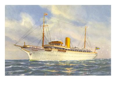 Passenger Ship under Swedish Flag--Art Print