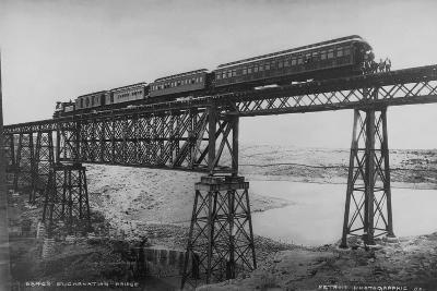 Passenger Train on Posada-Encarnation Trestle Bridge, Mexico-W.H. Jackson-Photographic Print