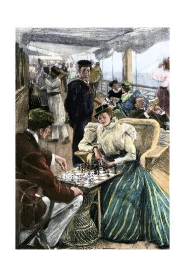 Passengers' Afternoon Recreation on the Deck of a P & O Steamship Circa 1900--Photographic Print