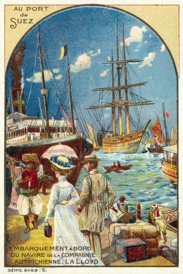 Passengers Boarding a Ship of the Austrian Lloyd Line at the Port of Suez, Egypt--Giclee Print